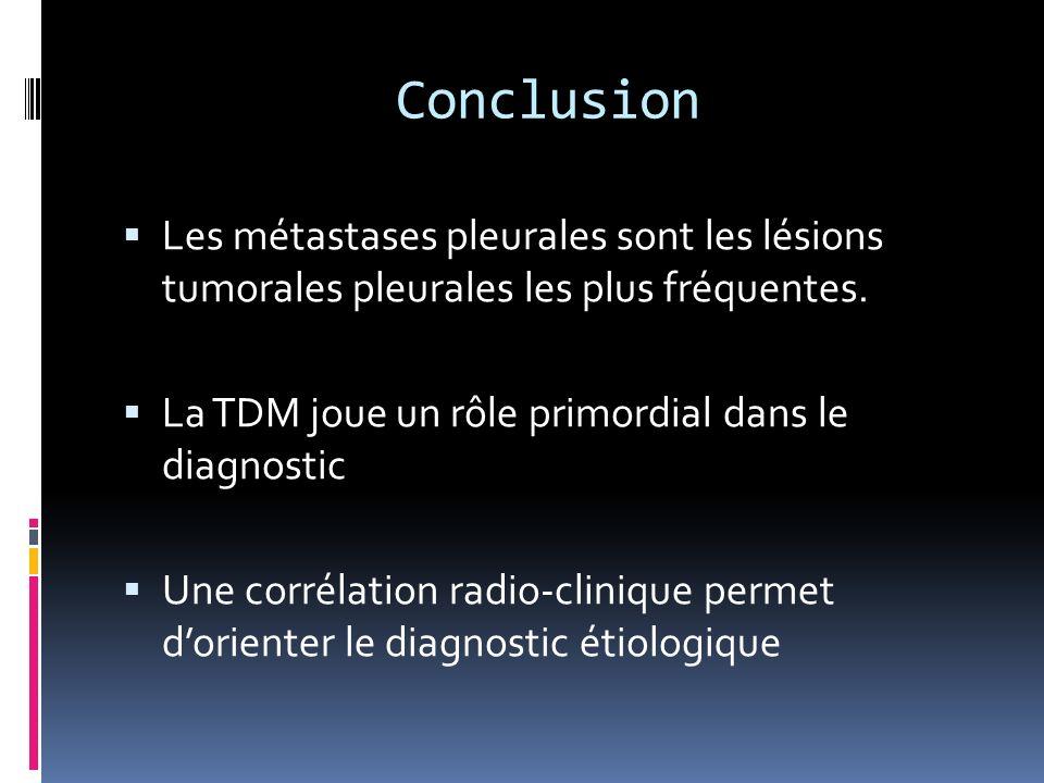 Conclusion Les métastases pleurales sont les lésions tumorales pleurales les plus fréquentes. La TDM joue un rôle primordial dans le diagnostic.