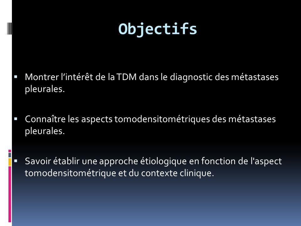 Objectifs Montrer l'intérêt de la TDM dans le diagnostic des métastases pleurales.