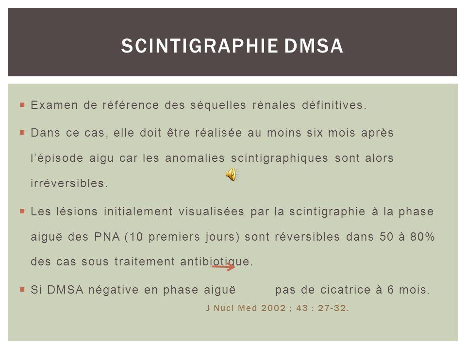 SCINTIGRAPHIE DMSA Examen de référence des séquelles rénales définitives.