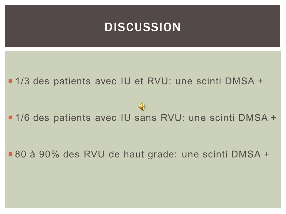 DISCUSSION 1/3 des patients avec IU et RVU: une scinti DMSA +
