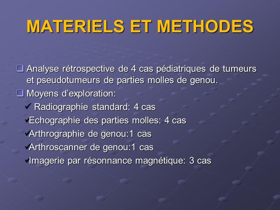 MATERIELS ET METHODES Analyse rétrospective de 4 cas pédiatriques de tumeurs et pseudotumeurs de parties molles de genou.