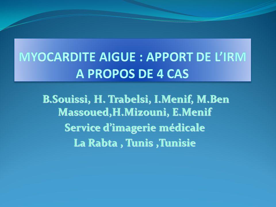 MYOCARDITE AIGUE : APPORT DE L'IRM A PROPOS DE 4 CAS