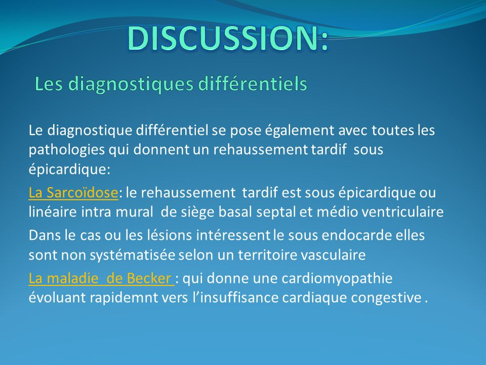 Les diagnostiques différentiels