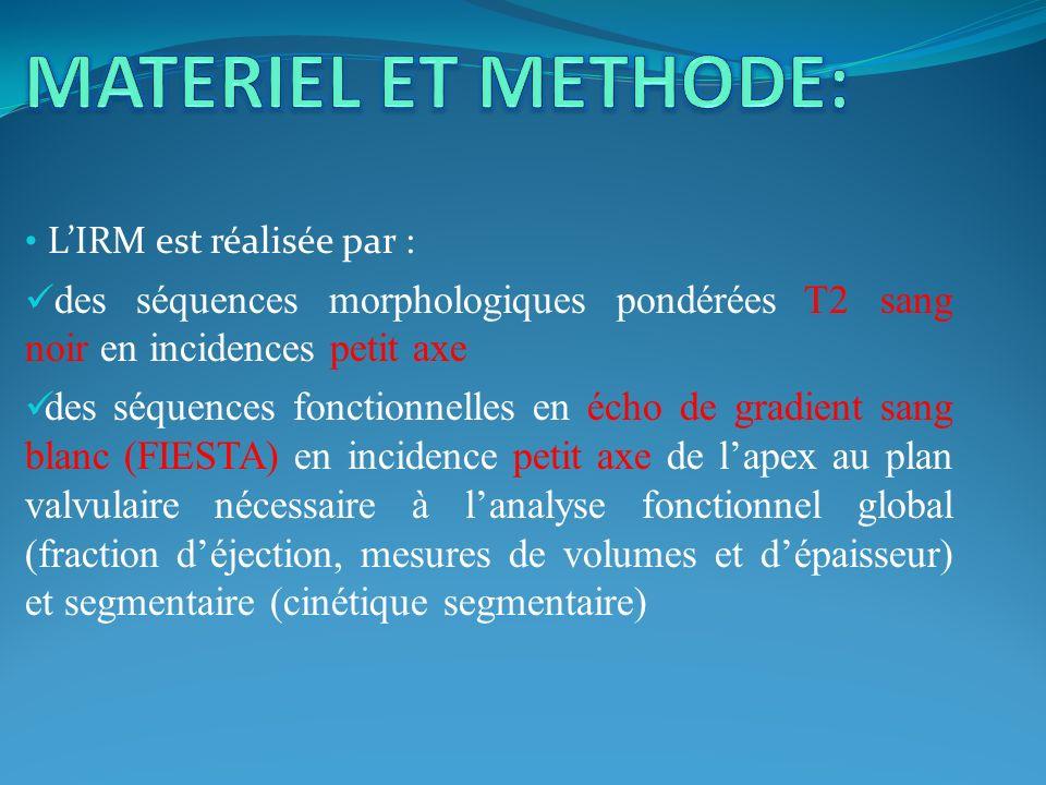 MATERIEL ET METHODE: L'IRM est réalisée par : des séquences morphologiques pondérées T2 sang noir en incidences petit axe.