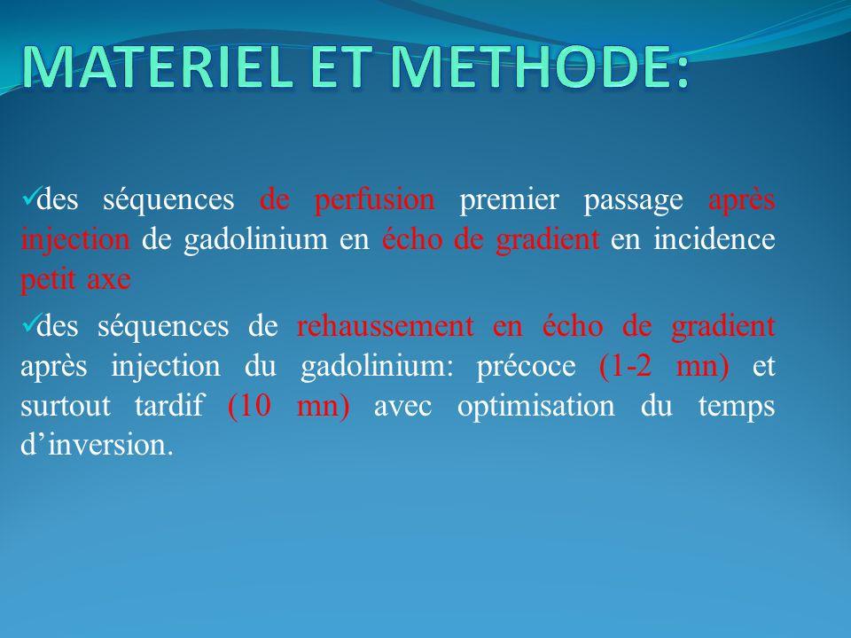 MATERIEL ET METHODE: des séquences de perfusion premier passage après injection de gadolinium en écho de gradient en incidence petit axe.