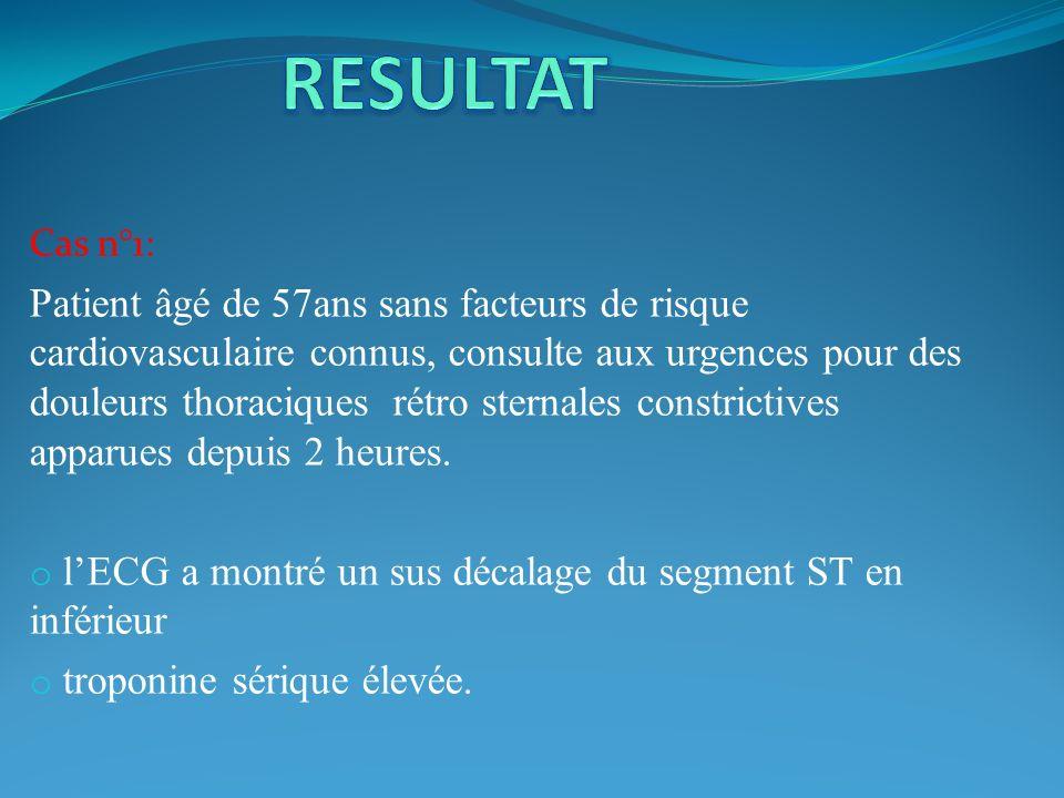 RESULTAT Cas n°1: