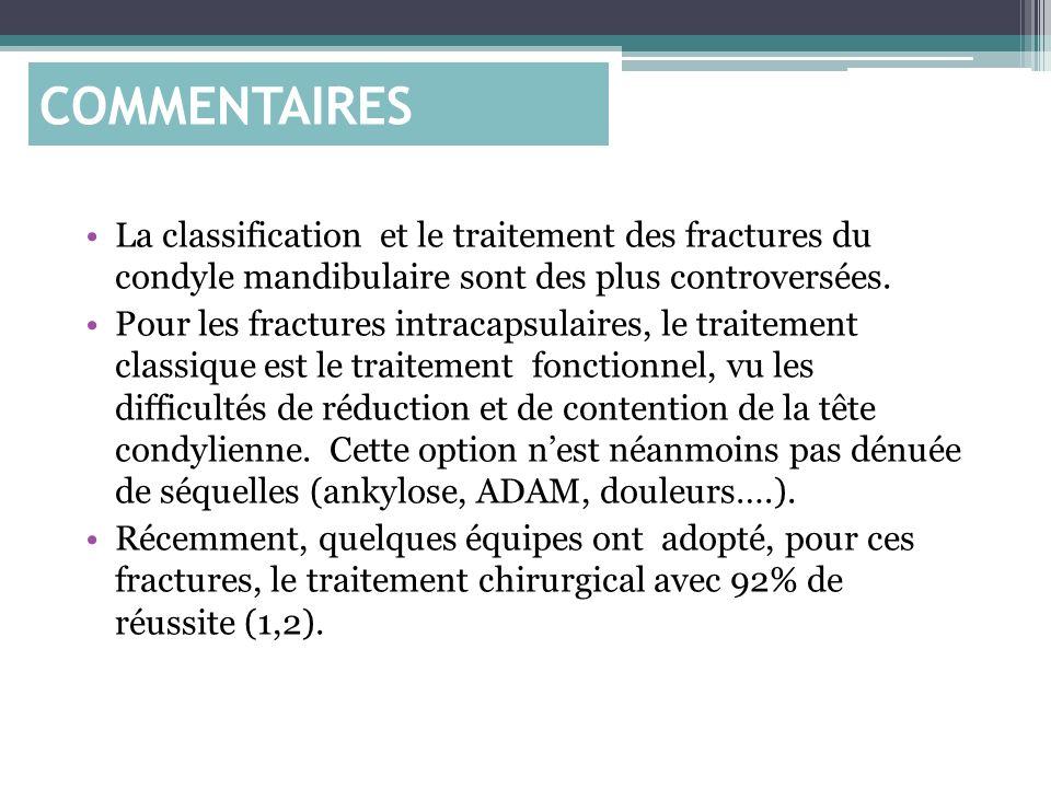 COMMENTAIRES La classification et le traitement des fractures du condyle mandibulaire sont des plus controversées.