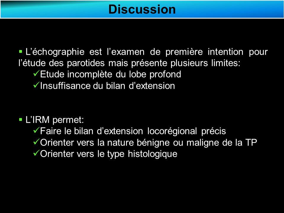 Discussion L'échographie est l'examen de première intention pour l'étude des parotides mais présente plusieurs limites: