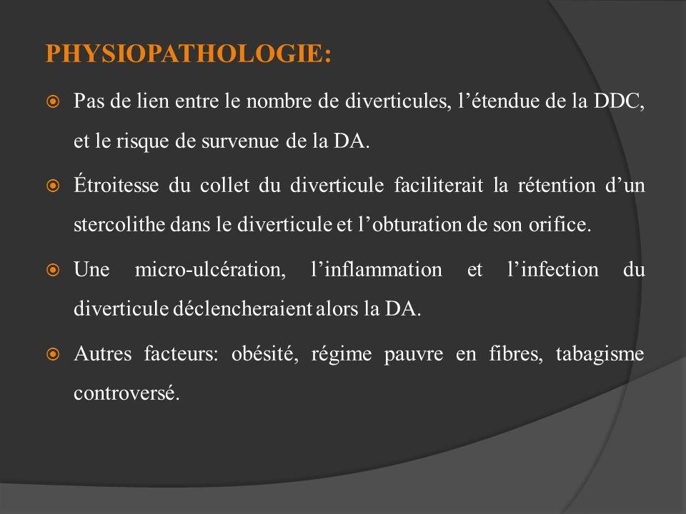 PHYSIOPATHOLOGIE: Pas de lien entre le nombre de diverticules, l'étendue de la DDC, et le risque de survenue de la DA.