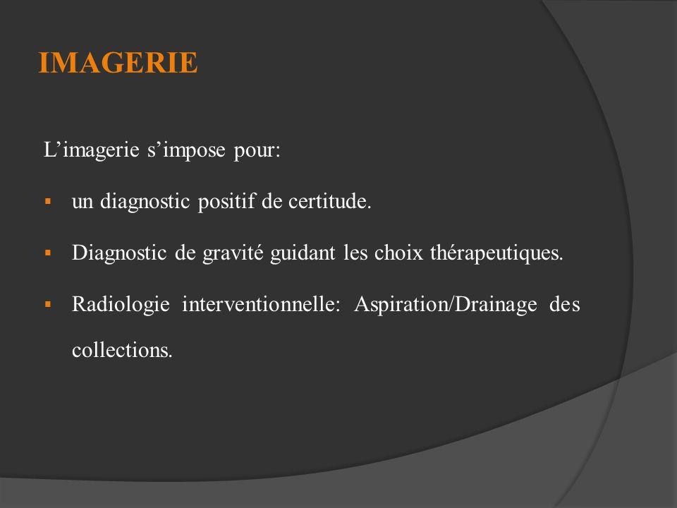 IMAGERIE L'imagerie s'impose pour: un diagnostic positif de certitude.