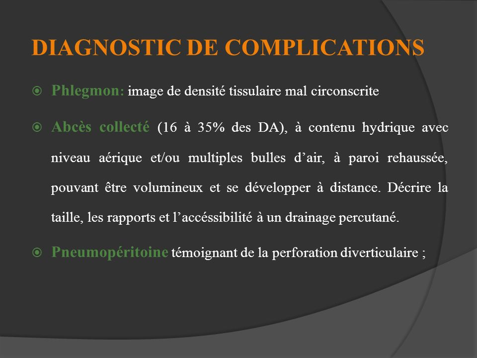 DIAGNOSTIC DE COMPLICATIONS