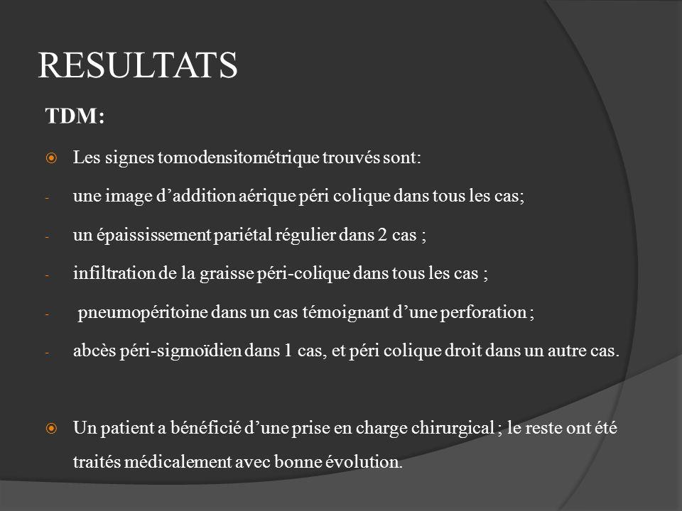RESULTATS TDM: Les signes tomodensitométrique trouvés sont: