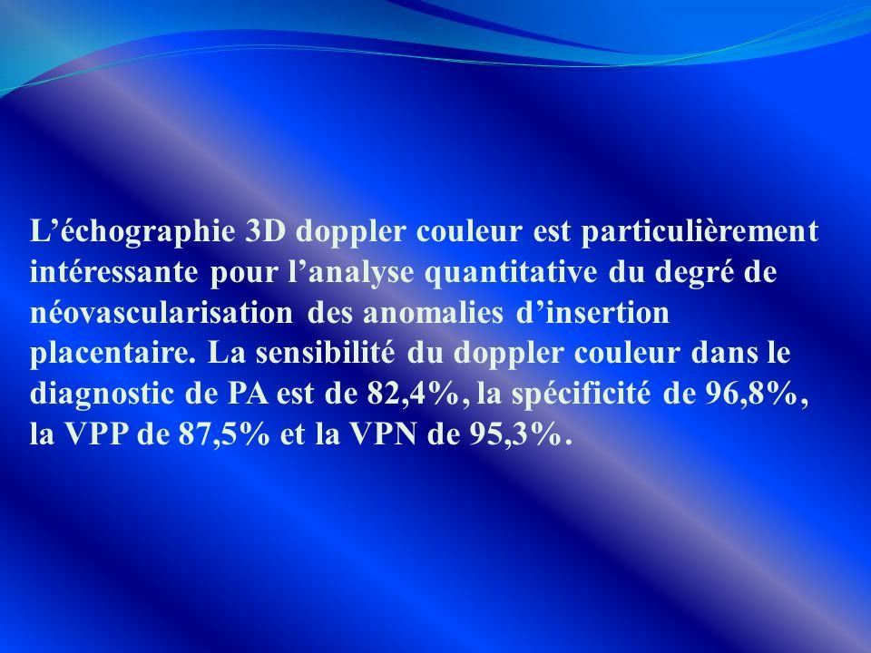 L'échographie 3D doppler couleur est particulièrement intéressante pour l'analyse quantitative du degré de néovascularisation des anomalies d'insertion placentaire.