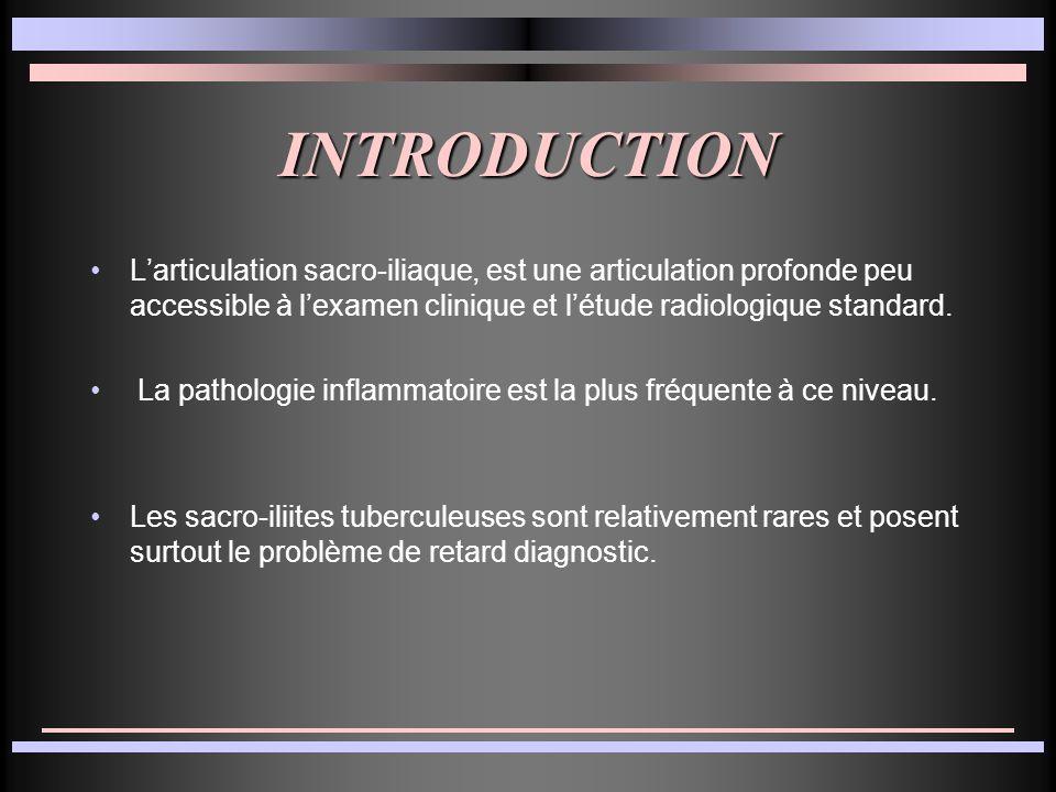 INTRODUCTION L'articulation sacro-iliaque, est une articulation profonde peu accessible à l'examen clinique et l'étude radiologique standard.