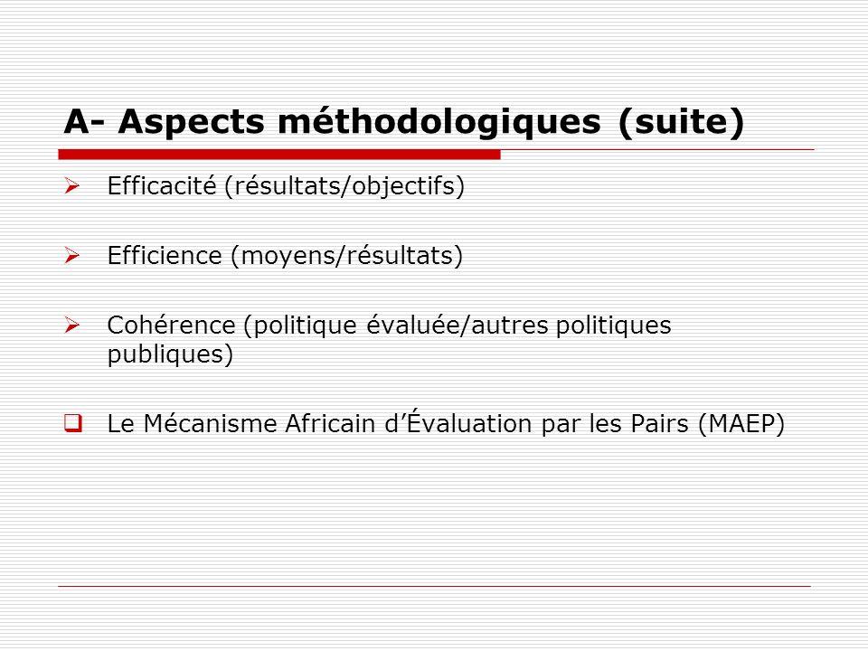 A- Aspects méthodologiques (suite)
