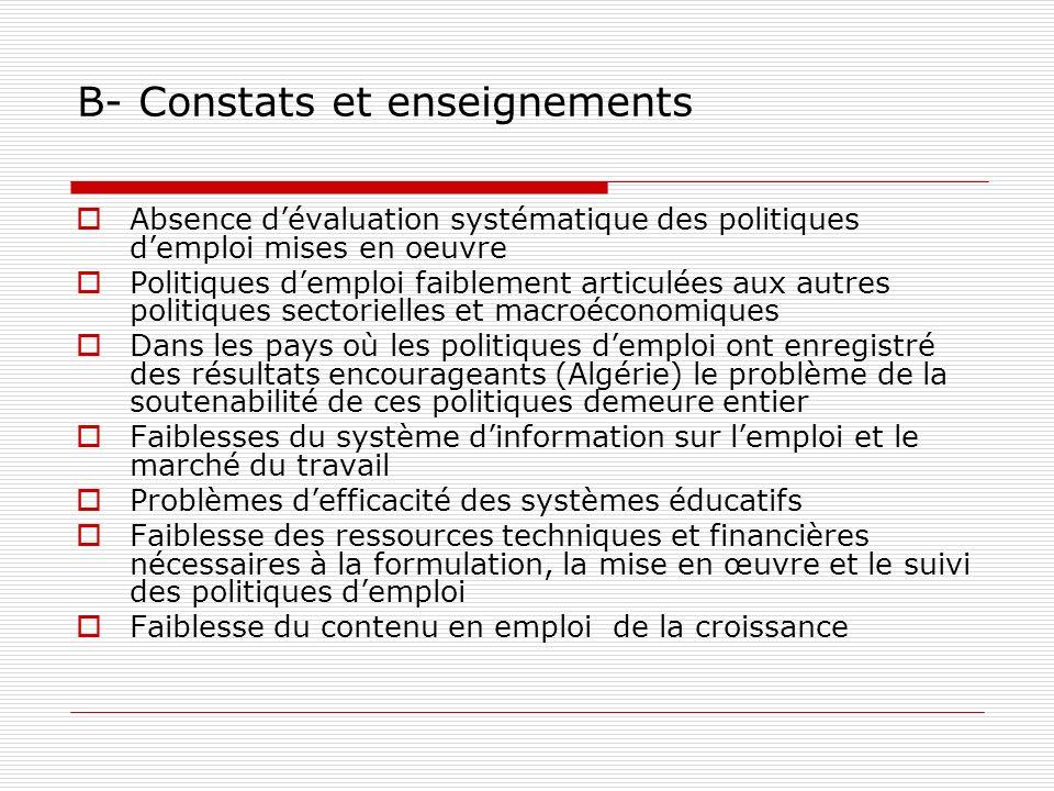 B- Constats et enseignements