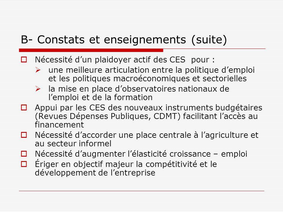B- Constats et enseignements (suite)