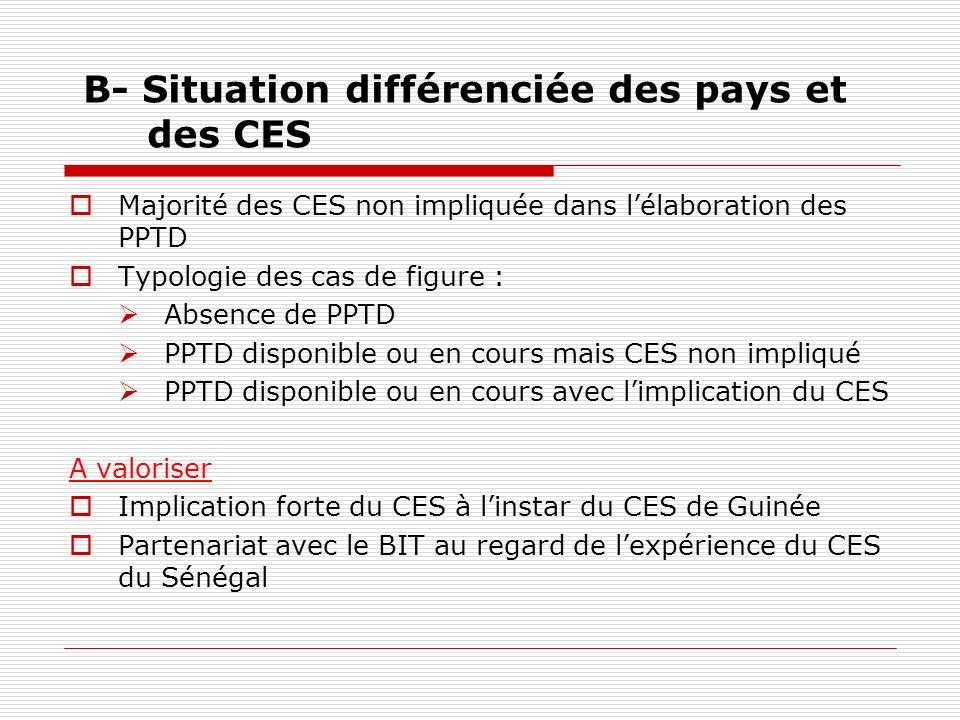 B- Situation différenciée des pays et des CES