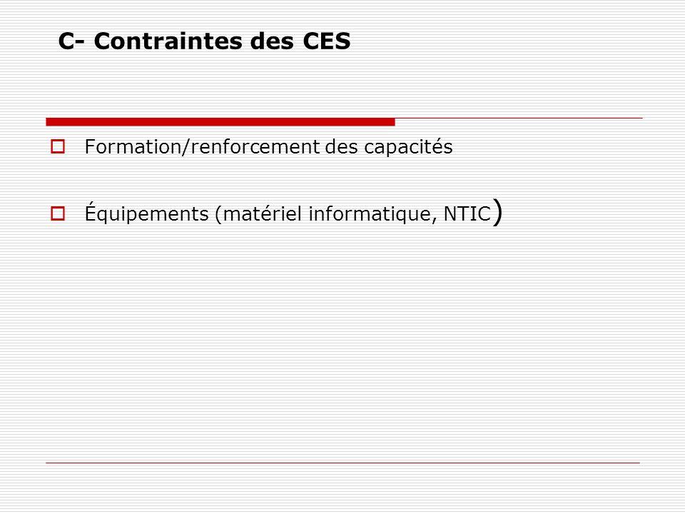 C- Contraintes des CES Formation/renforcement des capacités