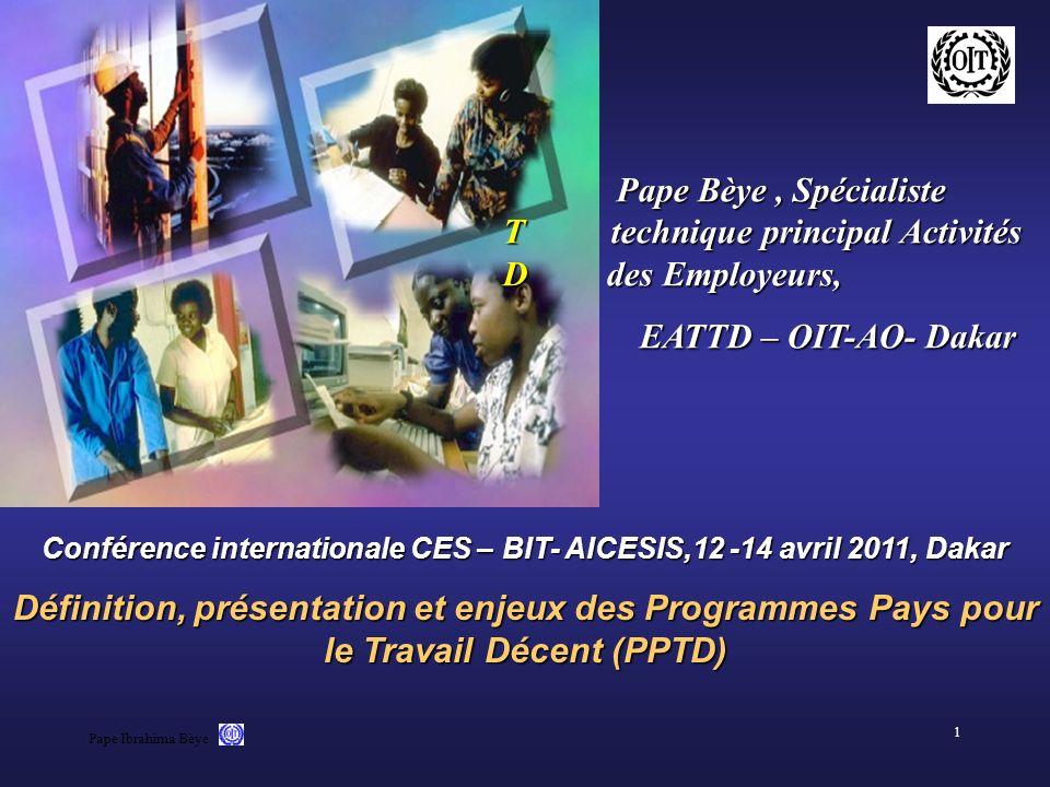 Conférence internationale CES – BIT- AICESIS,12 -14 avril 2011, Dakar