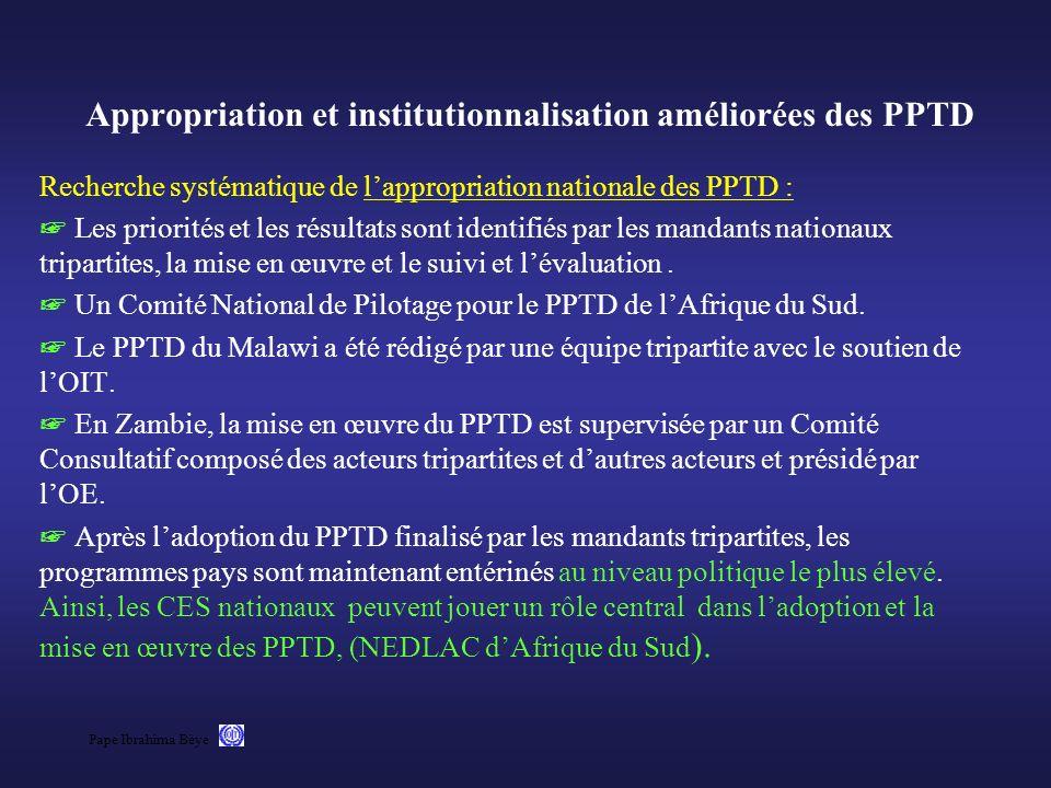 Appropriation et institutionnalisation améliorées des PPTD