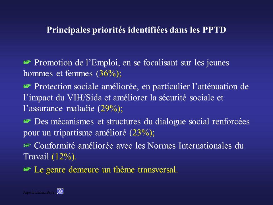 Principales priorités identifiées dans les PPTD