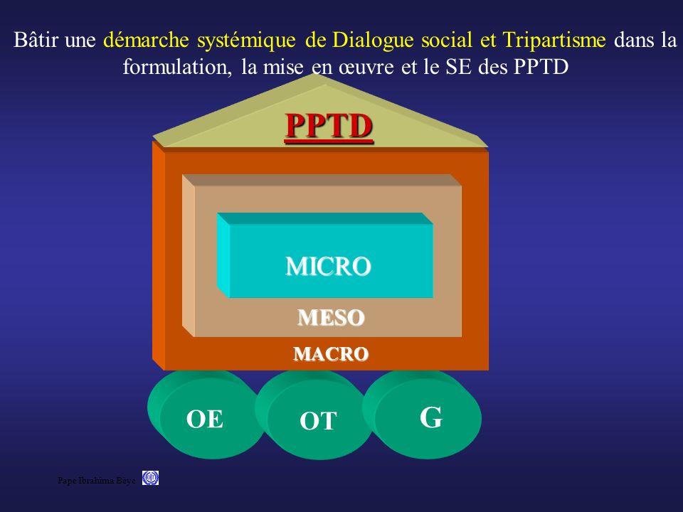 Bâtir une démarche systémique de Dialogue social et Tripartisme dans la formulation, la mise en œuvre et le SE des PPTD