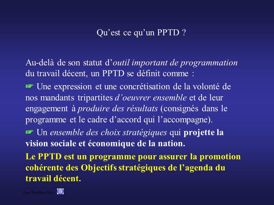 Qu'est ce qu'un PPTD Au-delà de son statut d'outil important de programmation du travail décent, un PPTD se définit comme :
