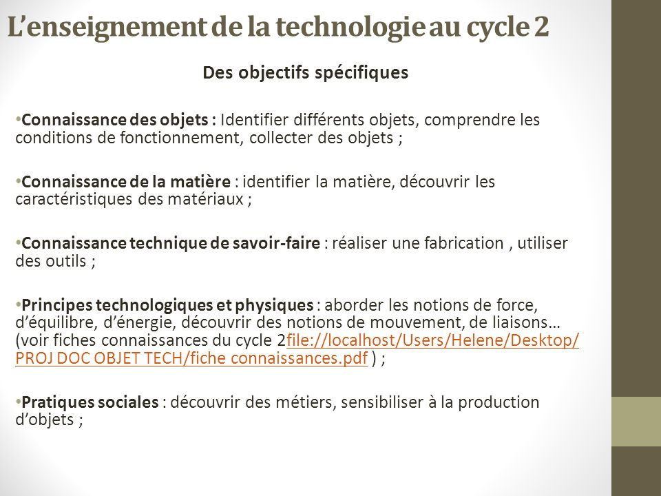 L'enseignement de la technologie au cycle 2