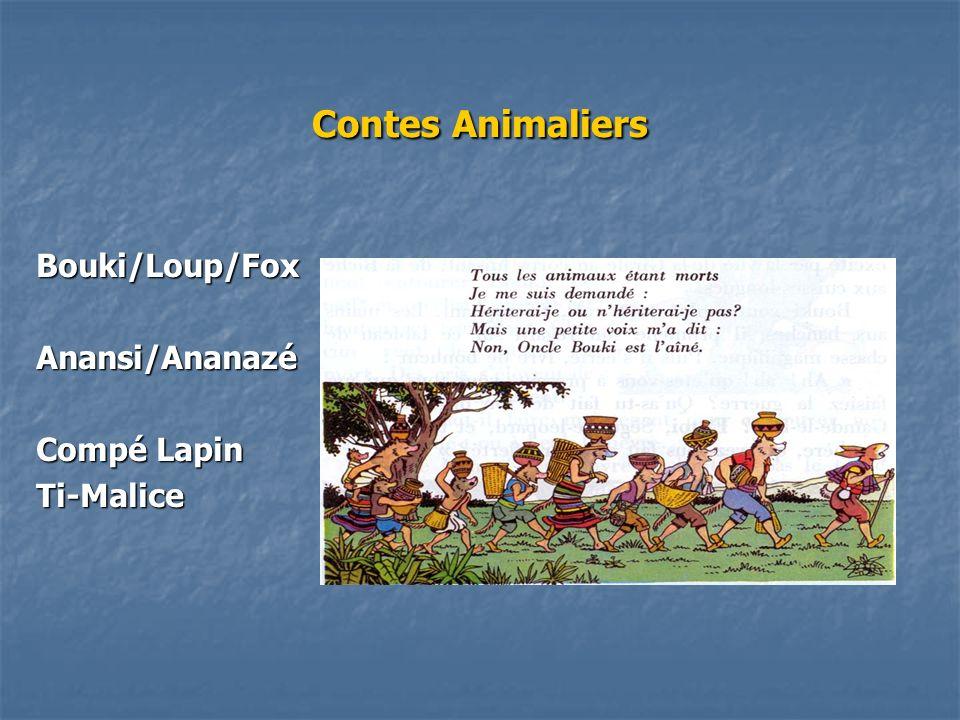 Contes Animaliers Bouki/Loup/Fox Anansi/Ananazé Compé Lapin Ti-Malice