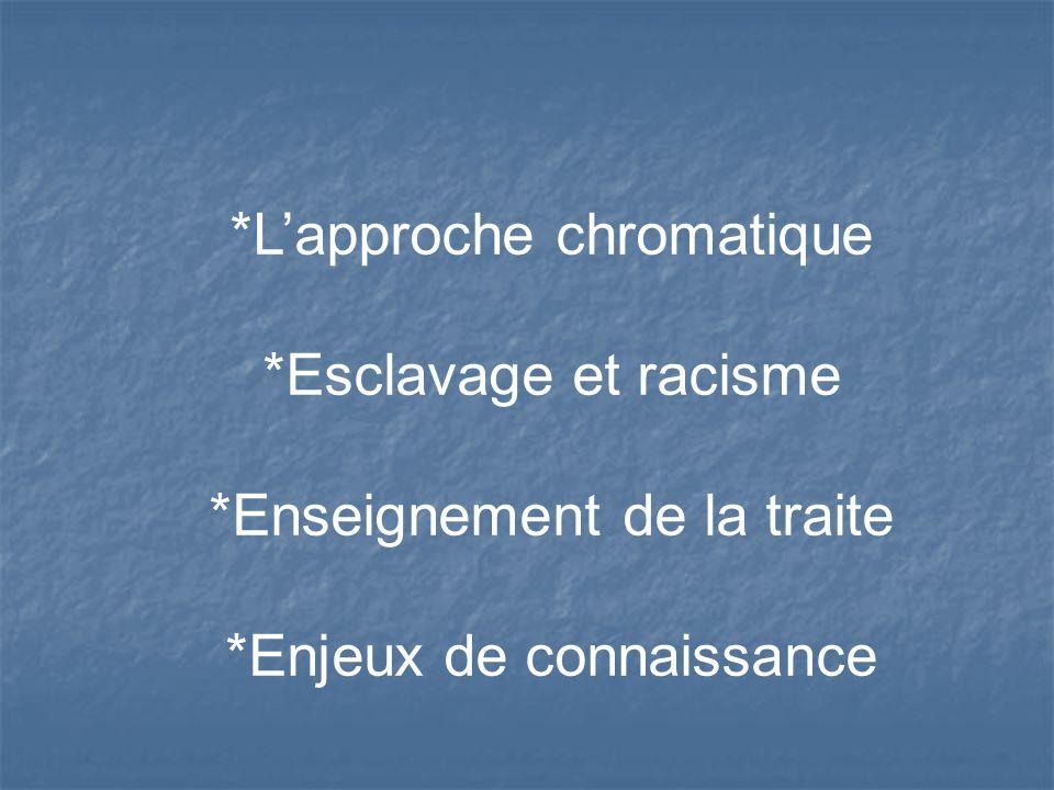 *L'approche chromatique *Esclavage et racisme