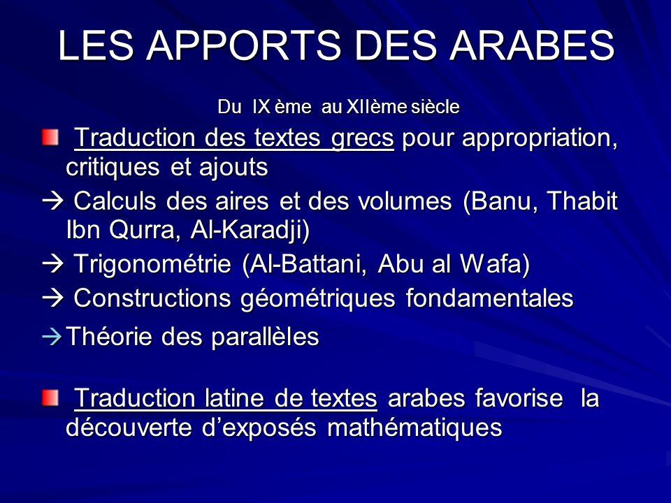 LES APPORTS DES ARABES Du IX ème au XIIème siècle
