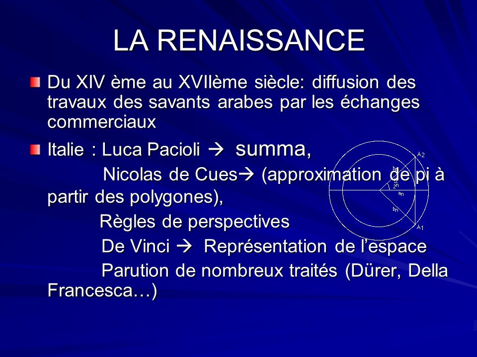 LA RENAISSANCEDu XIV ème au XVIIème siècle: diffusion des travaux des savants arabes par les échanges commerciaux.