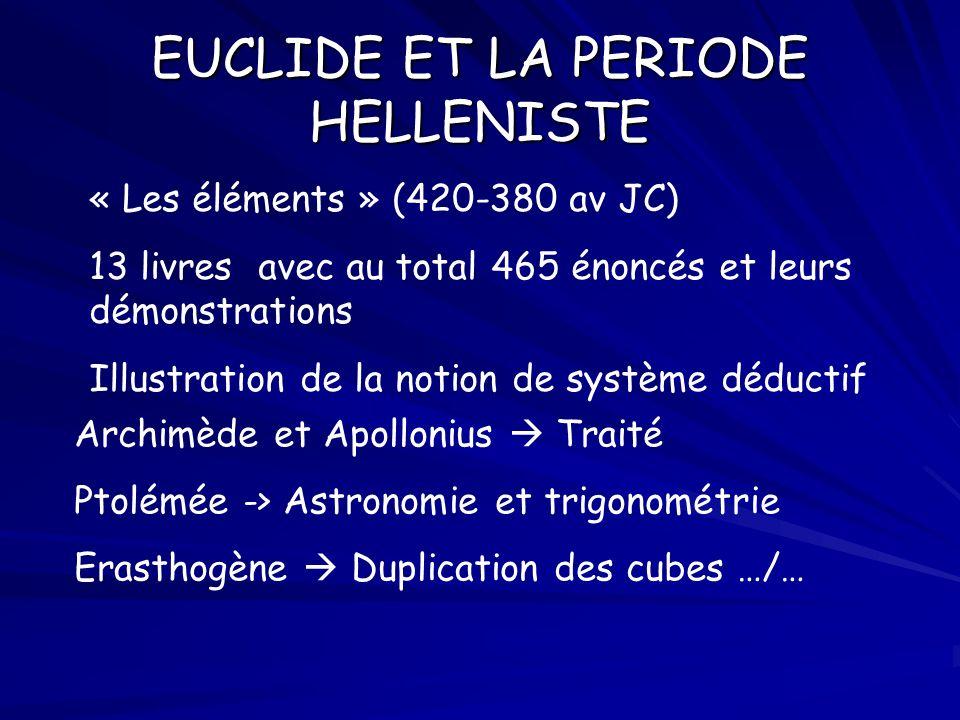 EUCLIDE ET LA PERIODE HELLENISTE