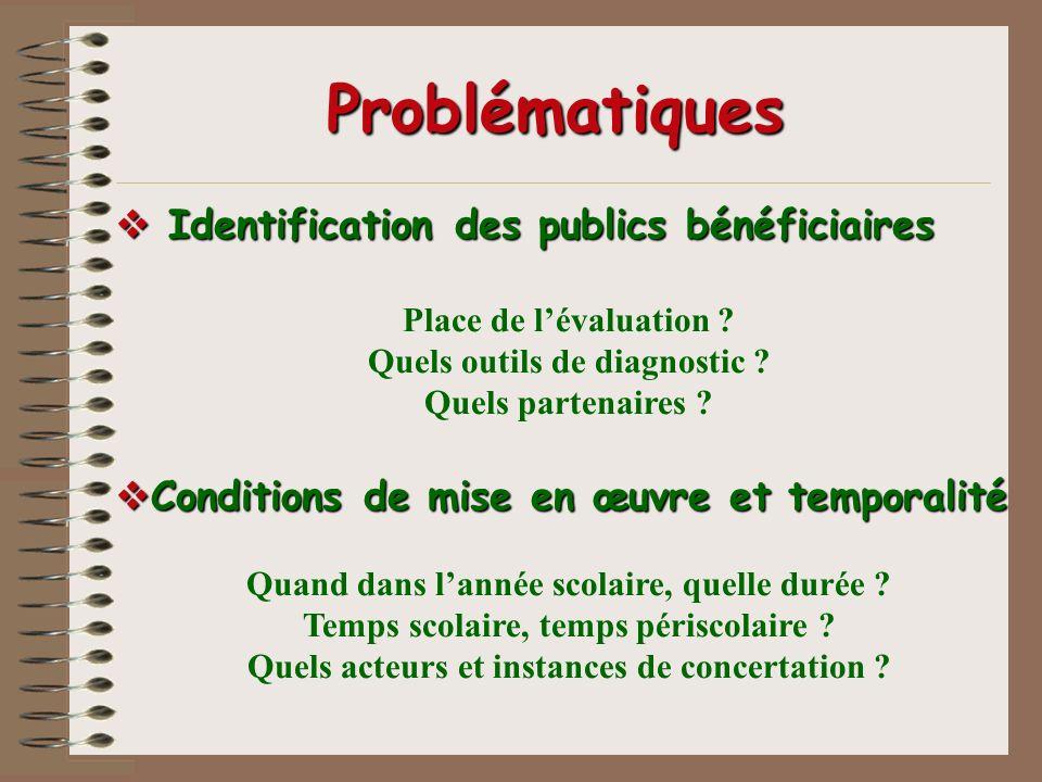 Problématiques Identification des publics bénéficiaires