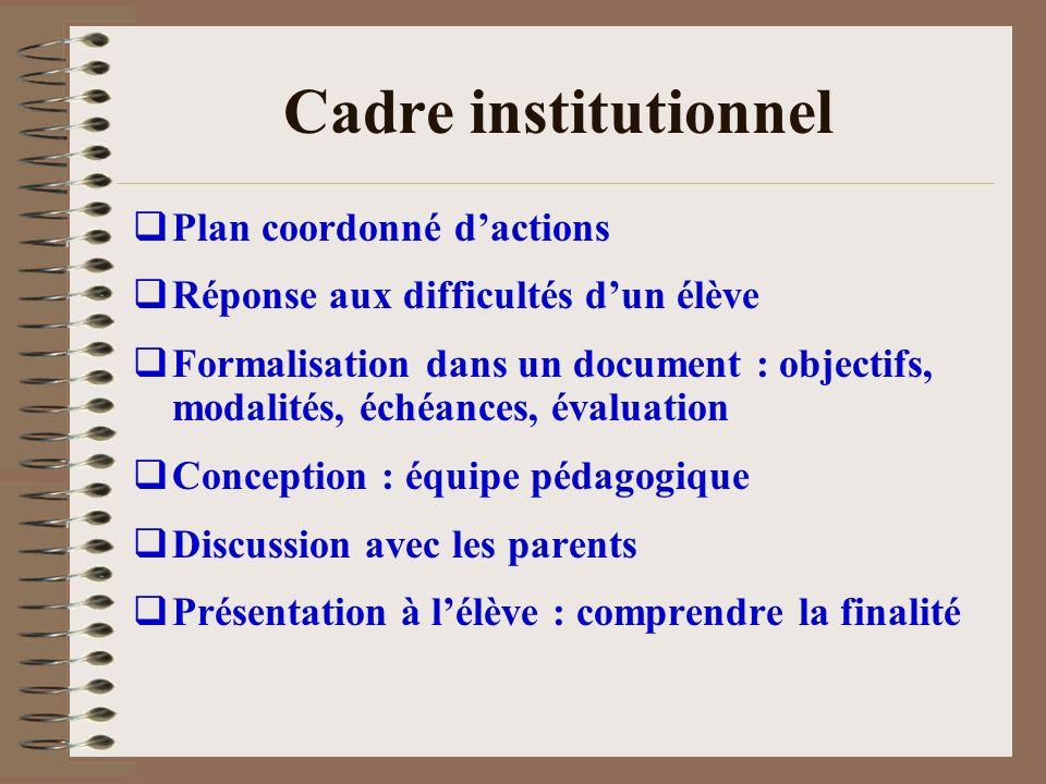 Cadre institutionnel Plan coordonné d'actions