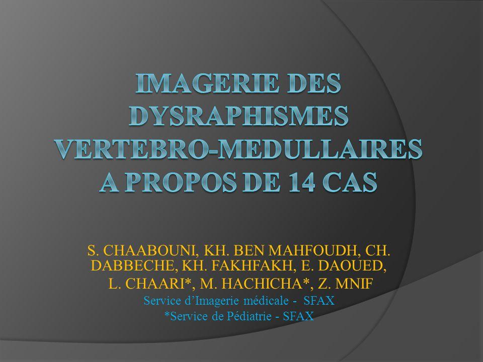 IMAGERIE DES DYSRAPHISMES VERTEBRO-MEDULLAIRES A PROPOS DE 14 CAS