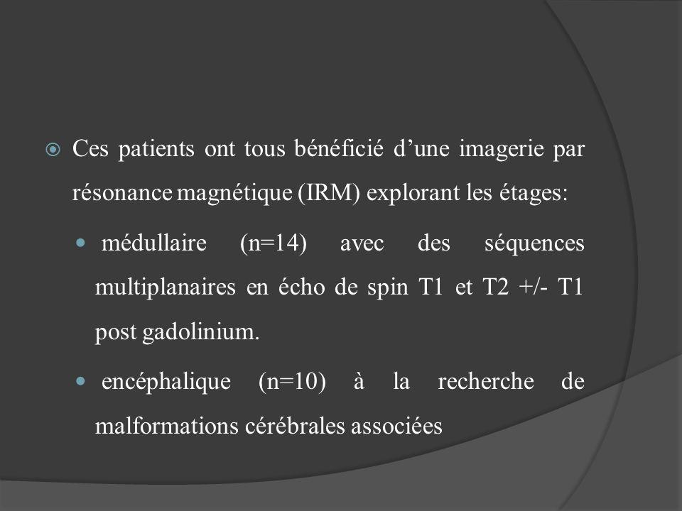 Ces patients ont tous bénéficié d'une imagerie par résonance magnétique (IRM) explorant les étages: