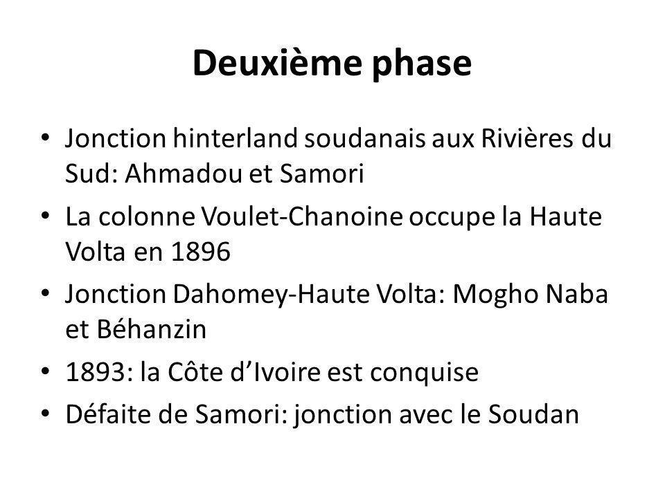 Deuxième phase Jonction hinterland soudanais aux Rivières du Sud: Ahmadou et Samori. La colonne Voulet-Chanoine occupe la Haute Volta en 1896.