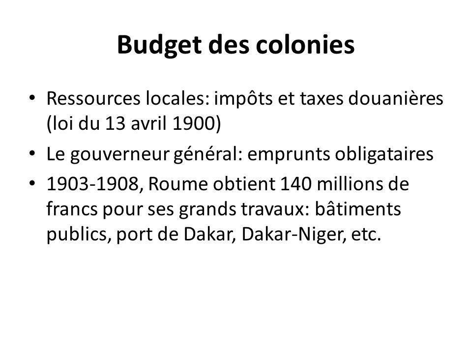 Budget des colonies Ressources locales: impôts et taxes douanières (loi du 13 avril 1900) Le gouverneur général: emprunts obligataires.
