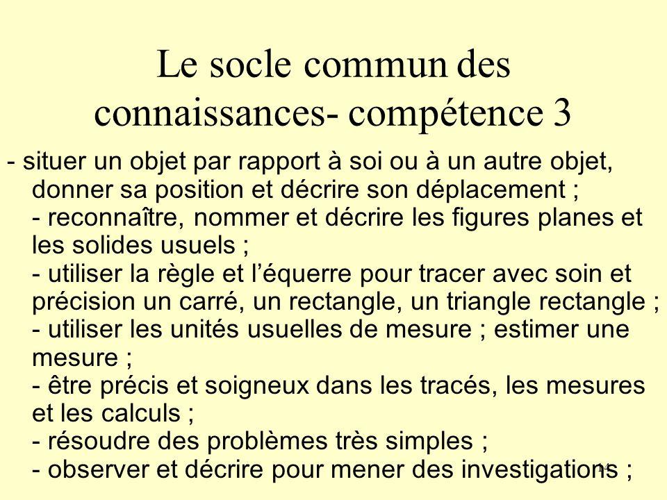 Le socle commun des connaissances- compétence 3
