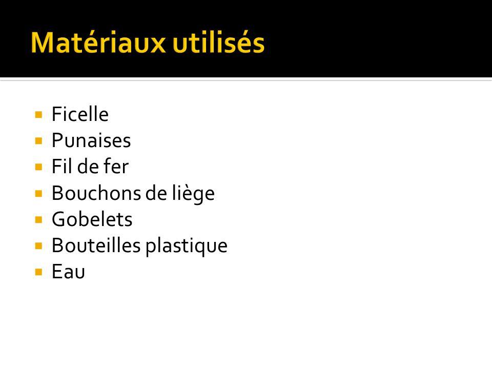 Matériaux utilisés Ficelle Punaises Fil de fer Bouchons de liège