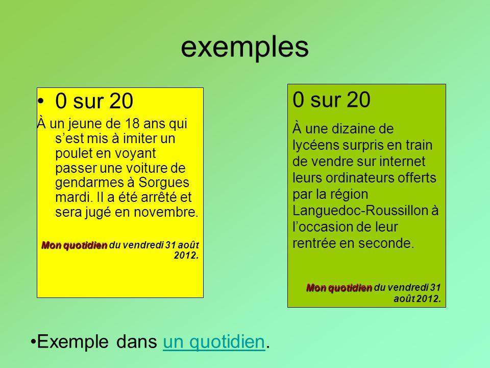 exemples 0 sur 20 0 sur 20 Exemple dans un quotidien.