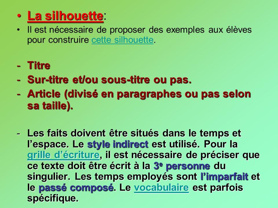 La silhouette: Titre Sur-titre et/ou sous-titre ou pas.