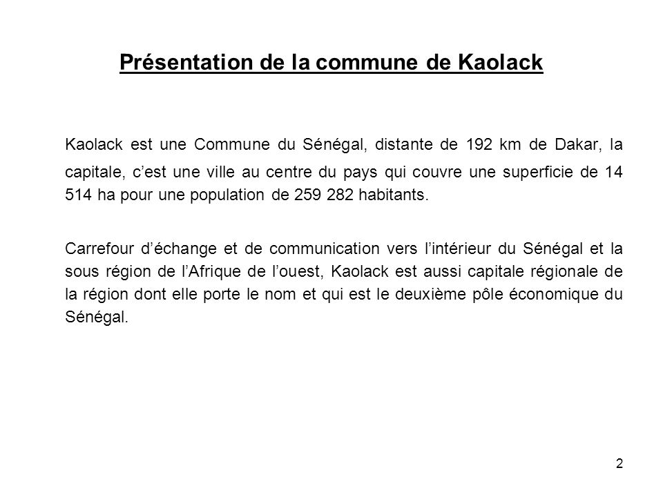 Présentation de la commune de Kaolack