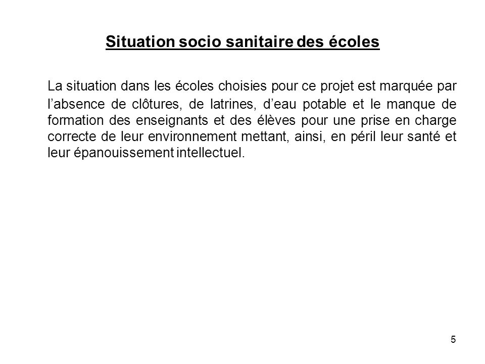 Situation socio sanitaire des écoles