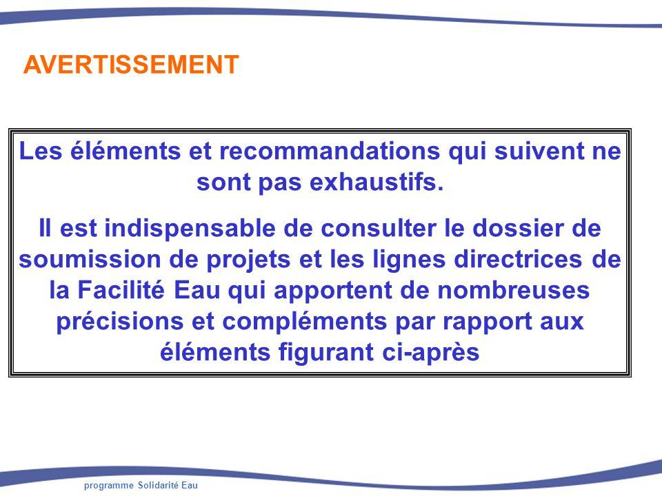 Les éléments et recommandations qui suivent ne sont pas exhaustifs.