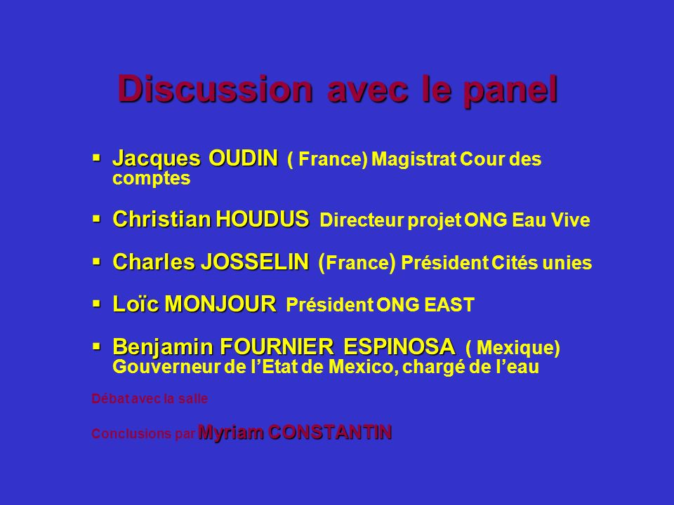 Discussion avec le panel