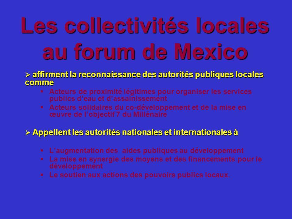 Les collectivités locales au forum de Mexico