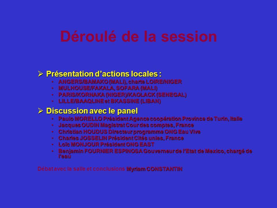 Déroulé de la session Présentation d'actions locales :